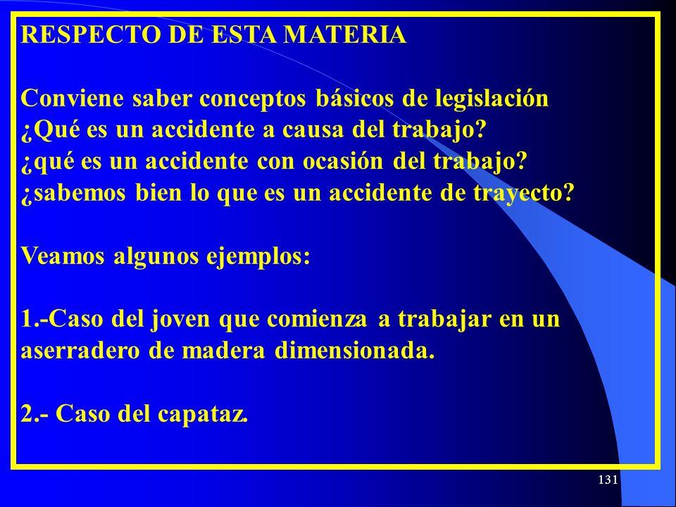 RESPECTO DE ESTA MATERIA Conviene saber conceptos básicos de legislación ¿Qué es un accidente a causa del trabajo? ¿qué es un accidente con ocasión de