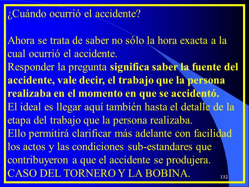 ¿Cuándo ocurrió el accidente? Ahora se trata de saber no sólo la hora exacta a la cual ocurrió el accidente. Responder la pregunta significa saber la