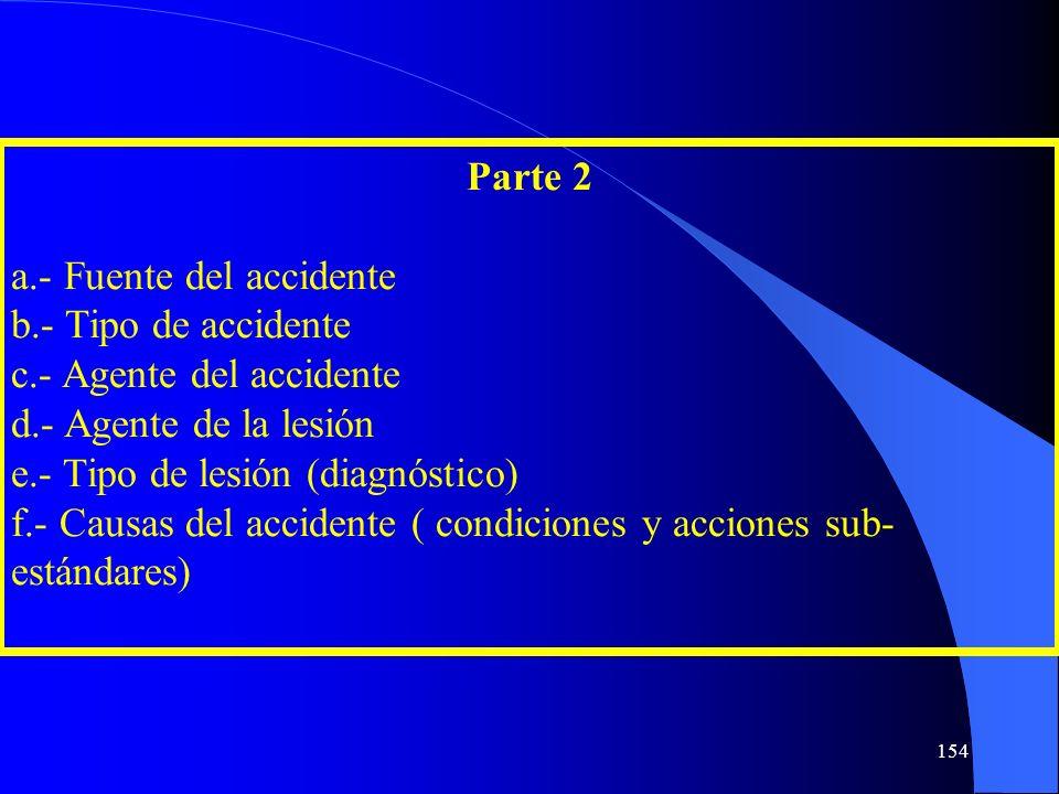 Parte 2 a.- Fuente del accidente b.- Tipo de accidente c.- Agente del accidente d.- Agente de la lesión e.- Tipo de lesión (diagnóstico) f.- Causas de