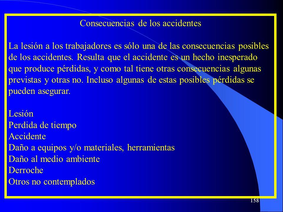 Consecuencias de los accidentes La lesión a los trabajadores es sólo una de las consecuencias posibles de los accidentes. Resulta que el accidente es