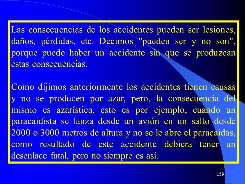 Las consecuencias de los accidentes pueden ser lesiones, daños, pérdidas, etc. Decimos