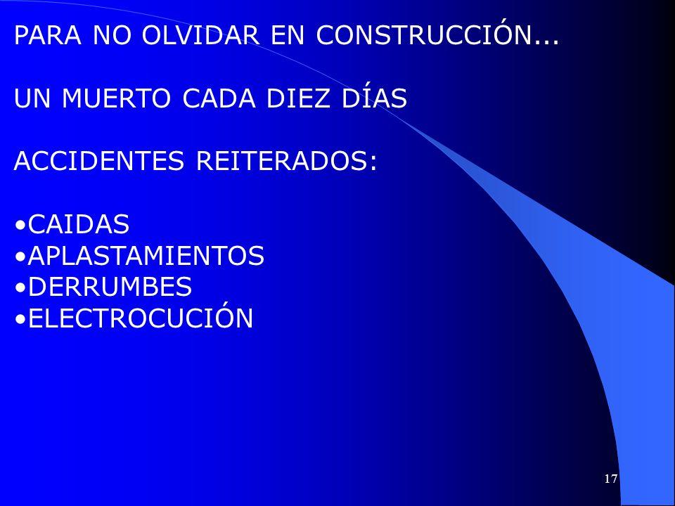 PARA NO OLVIDAR EN CONSTRUCCIÓN... UN MUERTO CADA DIEZ DÍAS ACCIDENTES REITERADOS: CAIDAS APLASTAMIENTOS DERRUMBES ELECTROCUCIÓN 17