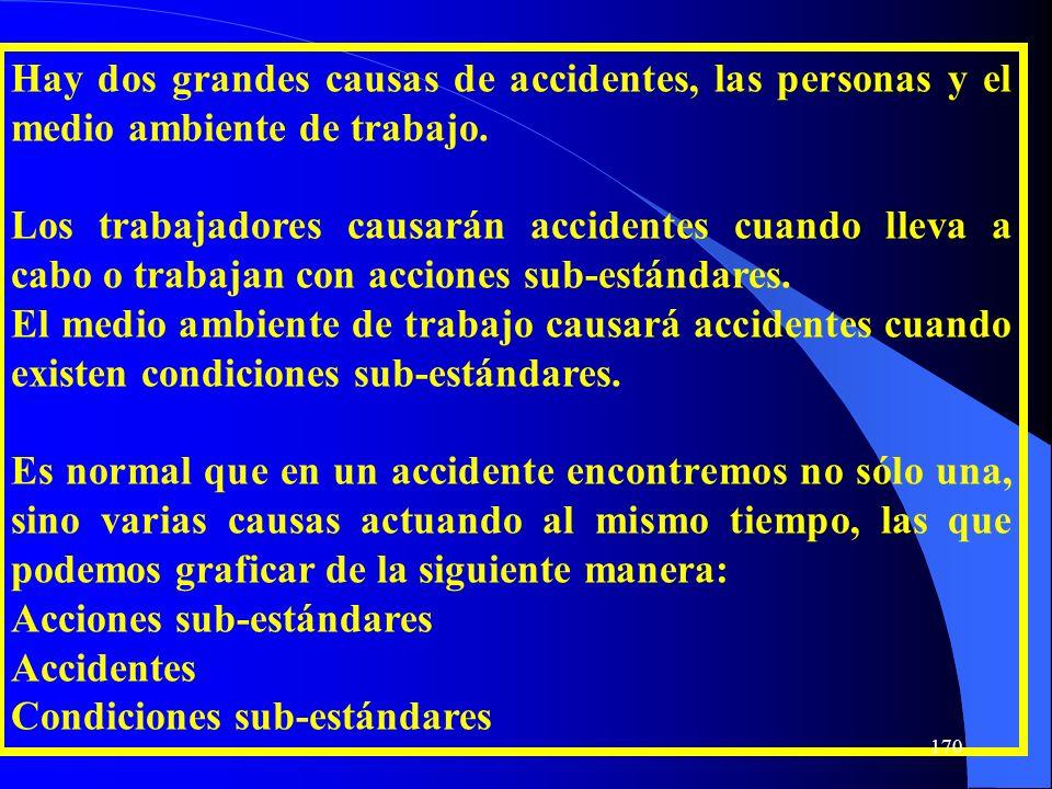 Hay dos grandes causas de accidentes, las personas y el medio ambiente de trabajo. Los trabajadores causarán accidentes cuando lleva a cabo o trabajan