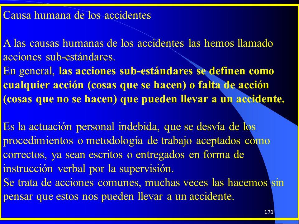 Causa humana de los accidentes A las causas humanas de los accidentes las hemos llamado acciones sub-estándares. En general, las acciones sub-estándar