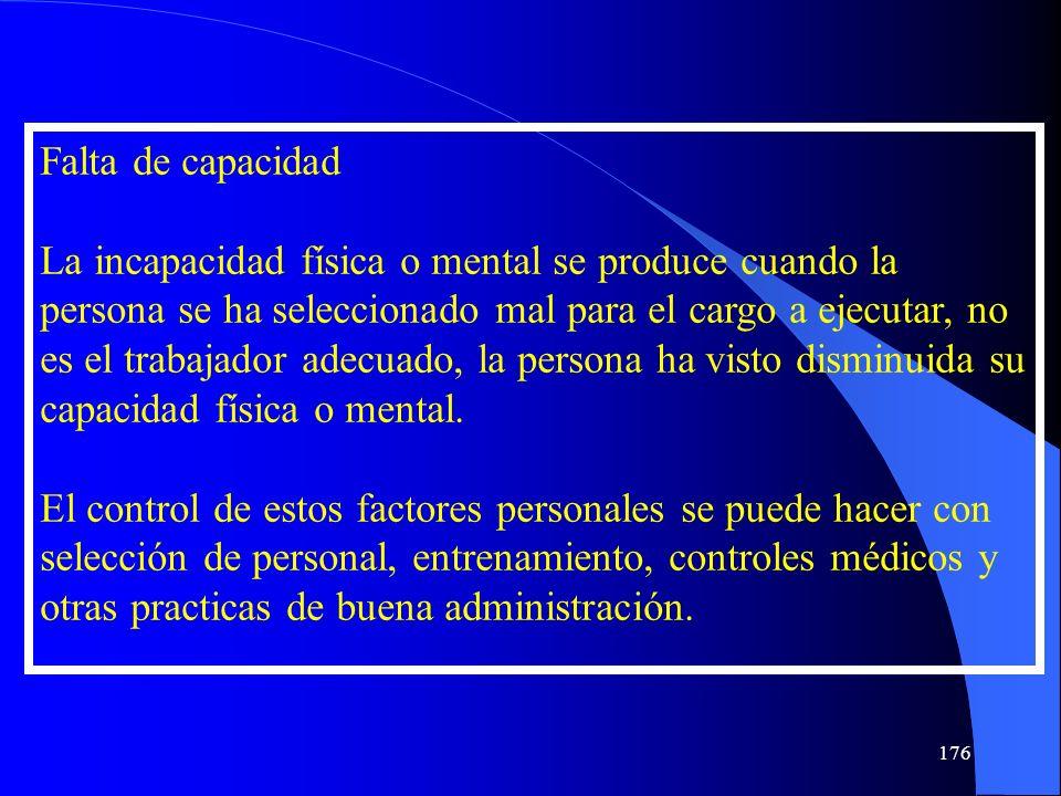 Falta de capacidad La incapacidad física o mental se produce cuando la persona se ha seleccionado mal para el cargo a ejecutar, no es el trabajador ad