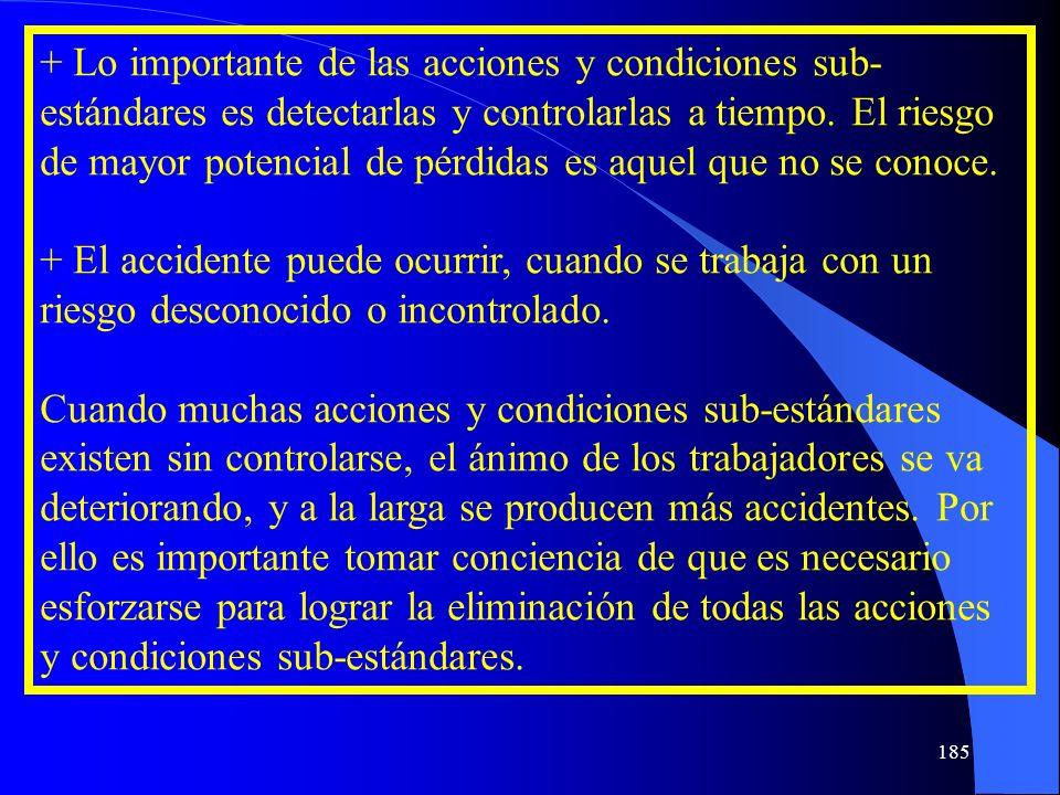 + Lo importante de las acciones y condiciones sub- estándares es detectarlas y controlarlas a tiempo. El riesgo de mayor potencial de pérdidas es aque