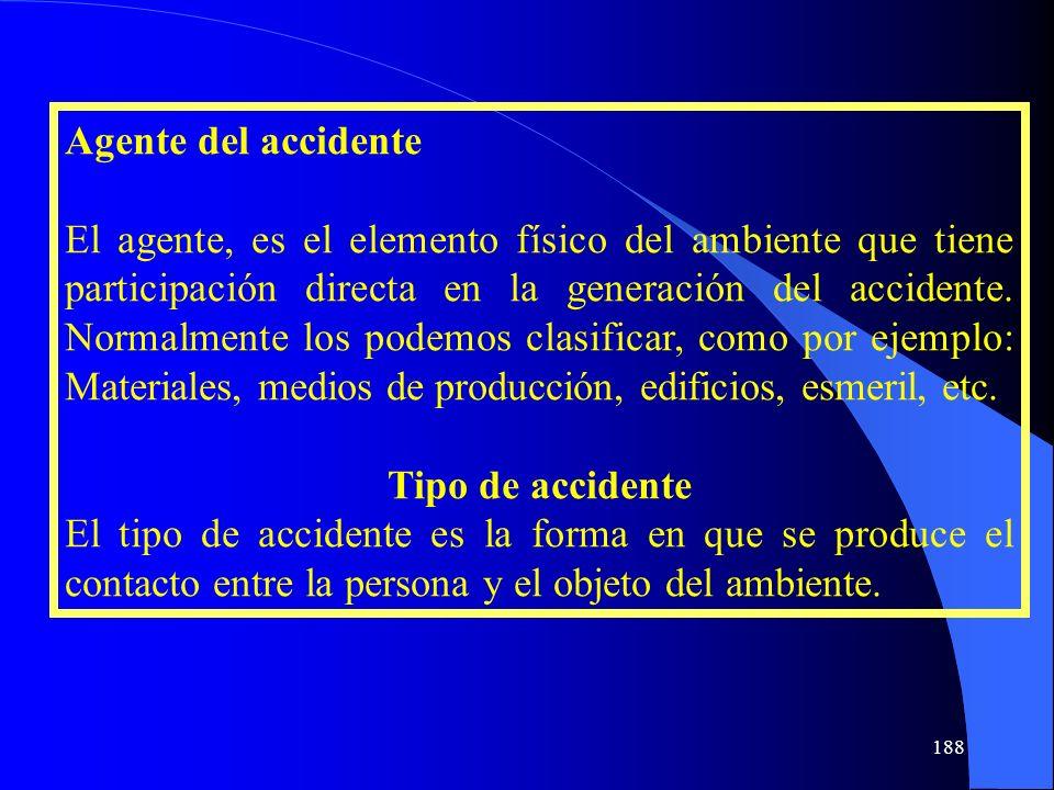 Agente del accidente El agente, es el elemento físico del ambiente que tiene participación directa en la generación del accidente. Normalmente los pod