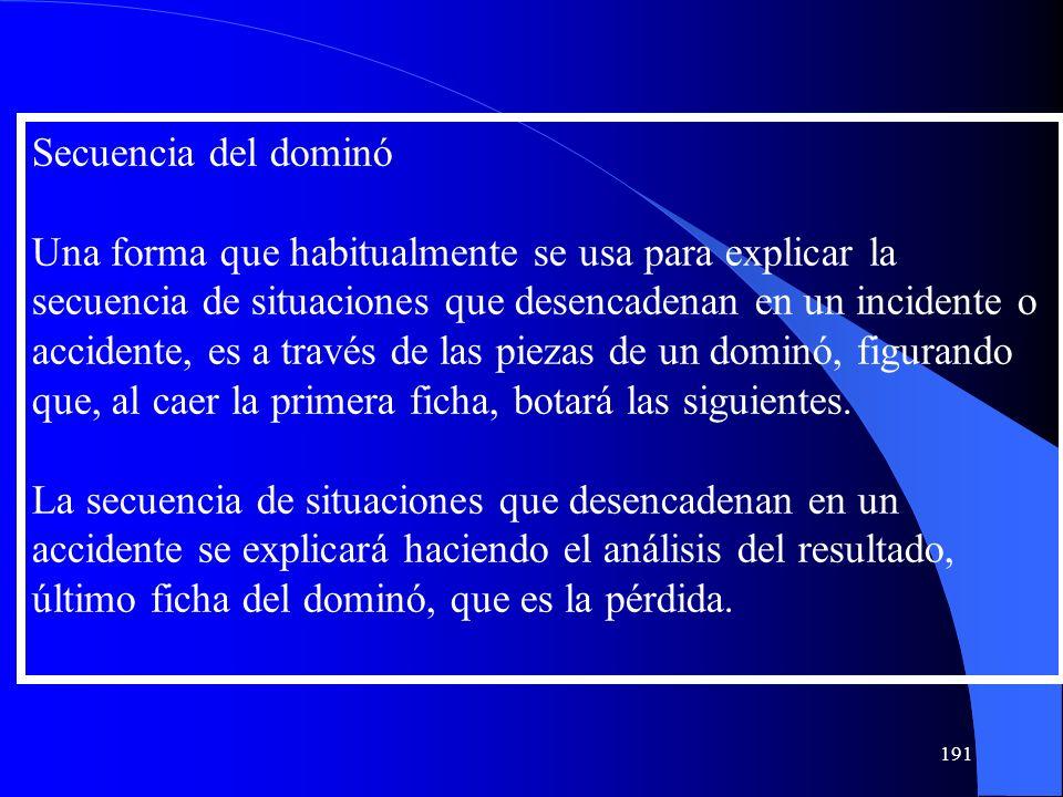 Secuencia del dominó Una forma que habitualmente se usa para explicar la secuencia de situaciones que desencadenan en un incidente o accidente, es a t