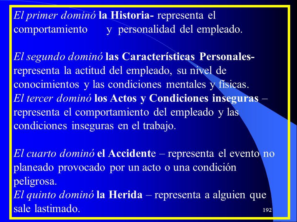 El primer dominó la Historia- representa el comportamiento y personalidad del empleado. El segundo dominó las Características Personales- representa l
