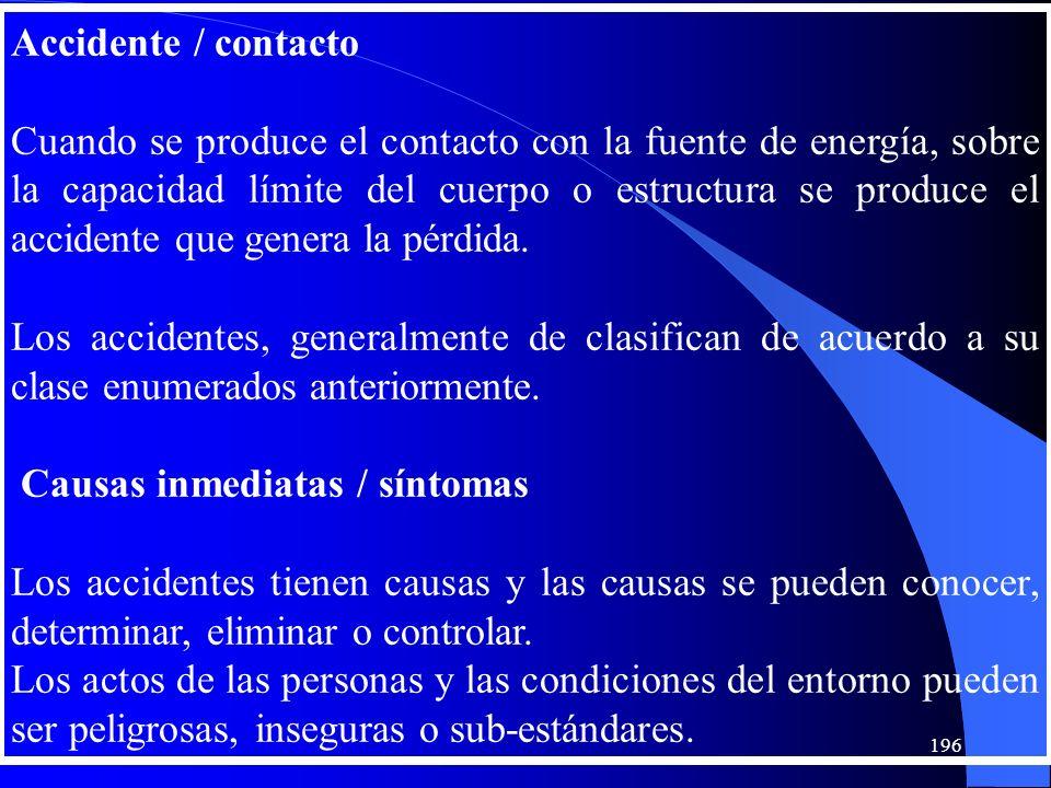 Accidente / contacto Cuando se produce el contacto con la fuente de energía, sobre la capacidad límite del cuerpo o estructura se produce el accidente