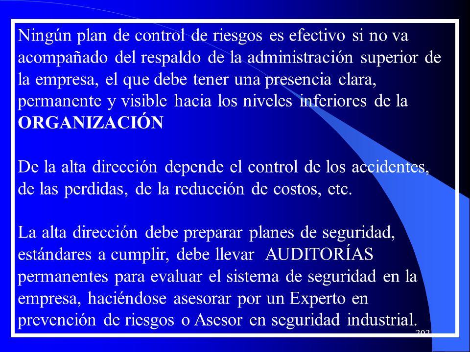 Ningún plan de control de riesgos es efectivo si no va acompañado del respaldo de la administración superior de la empresa, el que debe tener una pres