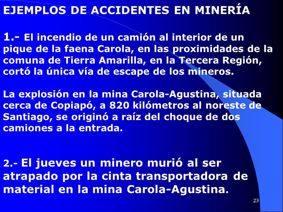 EJEMPLOS DE ACCIDENTES EN MINERÍA 1.- El incendio de un camión al interior de un pique de la faena Carola, en las proximidades de la comuna de Tierra