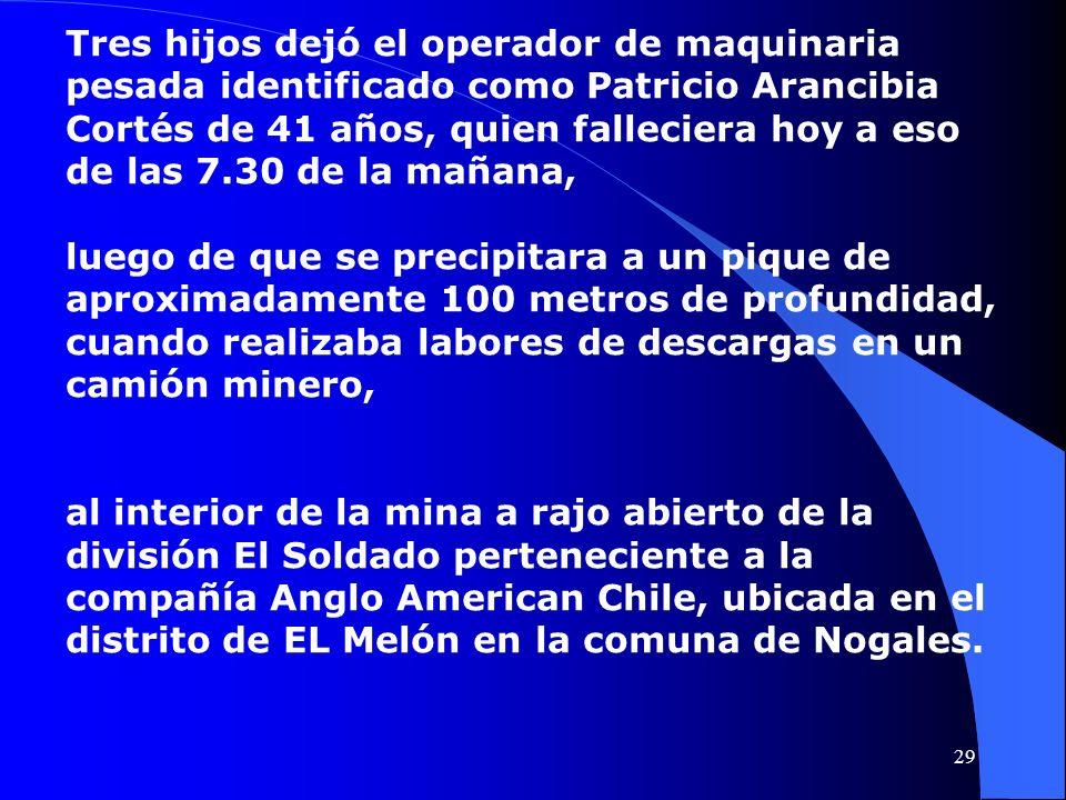 Tres hijos dejó el operador de maquinaria pesada identificado como Patricio Arancibia Cortés de 41 años, quien falleciera hoy a eso de las 7.30 de la