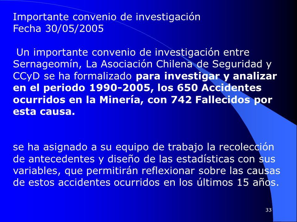 Importante convenio de investigación Fecha 30/05/2005 Un importante convenio de investigación entre Sernageomín, La Asociación Chilena de Seguridad y