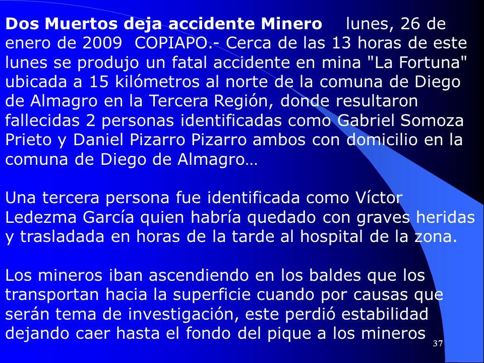 Dos Muertos deja accidente Minero lunes, 26 de enero de 2009 COPIAPO.- Cerca de las 13 horas de este lunes se produjo un fatal accidente en mina