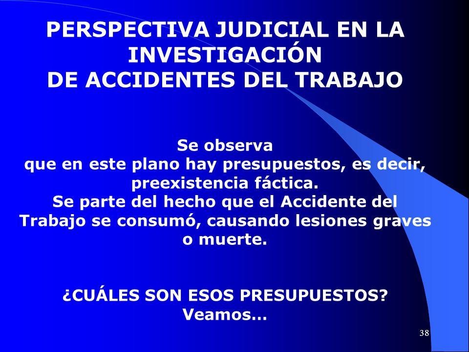 PERSPECTIVA JUDICIAL EN LA INVESTIGACIÓN DE ACCIDENTES DEL TRABAJO Se observa que en este plano hay presupuestos, es decir, preexistencia fáctica. Se