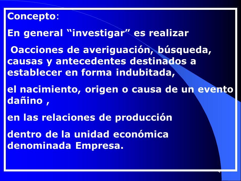 Concepto: En general investigar es realizar Oacciones de averiguación, búsqueda, causas y antecedentes destinados a establecer en forma indubitada, el