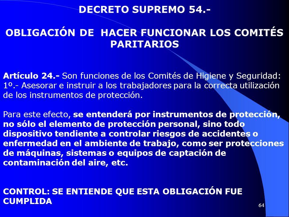DECRETO SUPREMO 54.- OBLIGACIÓN DE HACER FUNCIONAR LOS COMITÉS PARITARIOS Artículo 24.- Son funciones de los Comités de Higiene y Seguridad: 1º.- Ases