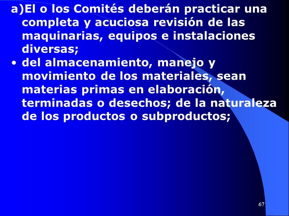 a)El o los Comités deberán practicar una completa y acuciosa revisión de las maquinarias, equipos e instalaciones diversas; del almacenamiento, manejo