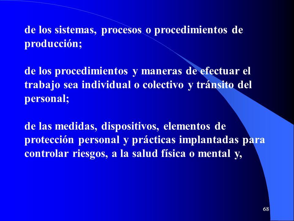 de los sistemas, procesos o procedimientos de producción; de los procedimientos y maneras de efectuar el trabajo sea individual o colectivo y tránsito