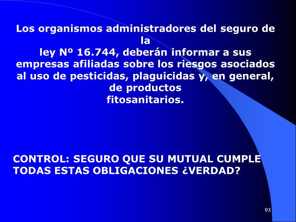 Los organismos administradores del seguro de la ley Nº 16.744, deberán informar a sus empresas afiliadas sobre los riesgos asociados al uso de pestici