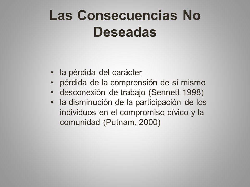 Las Consecuencias No Deseadas la pérdida del carácter pérdida de la comprensión de sí mismo desconexión de trabajo (Sennett 1998) la disminución de la participación de los individuos en el compromiso cívico y la comunidad (Putnam, 2000)