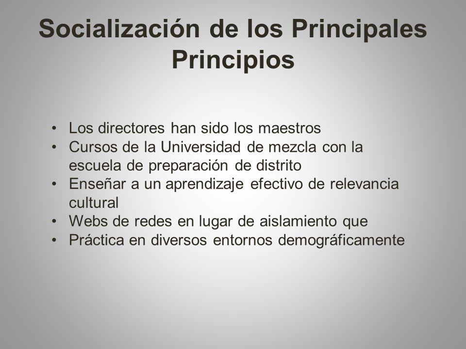 Socialización de los Principales Principios Los directores han sido los maestros Cursos de la Universidad de mezcla con la escuela de preparación de distrito Enseñar a un aprendizaje efectivo de relevancia cultural Webs de redes en lugar de aislamiento que Práctica en diversos entornos demográficamente