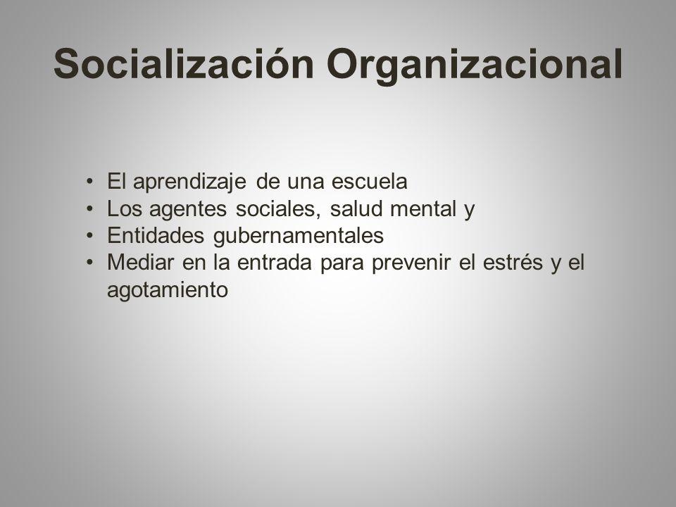 Socialización Organizacional El aprendizaje de una escuela Los agentes sociales, salud mental y Entidades gubernamentales Mediar en la entrada para prevenir el estrés y el agotamiento