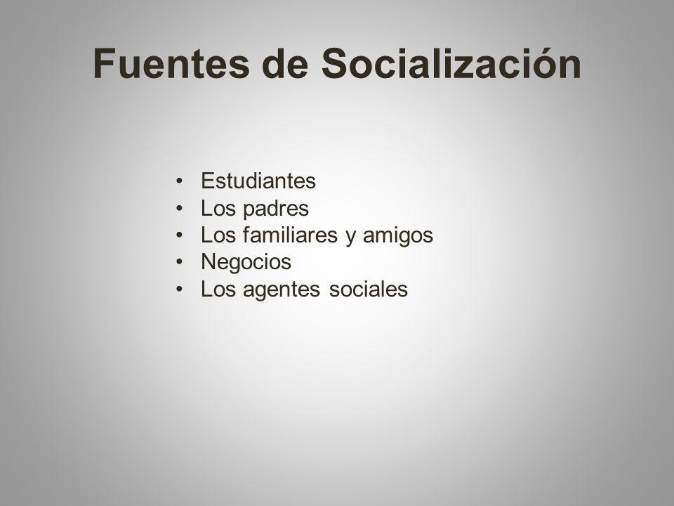 Fuentes de Socialización Estudiantes Los padres Los familiares y amigos Negocios Los agentes sociales