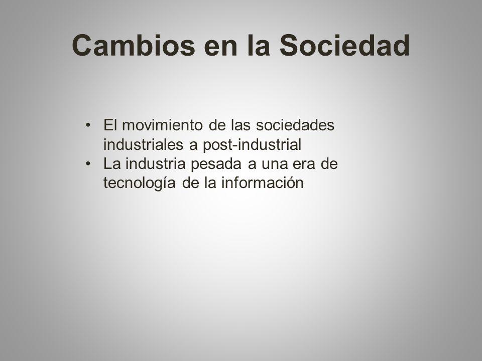 Cambios en la Sociedad El movimiento de las sociedades industriales a post-industrial La industria pesada a una era de tecnología de la información