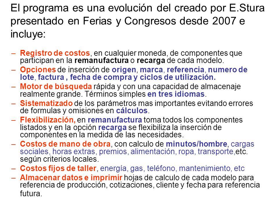 El programa es una evolución del creado por E.Stura presentado en Ferias y Congresos desde 2007 e incluye: –Registro de costos, en cualquier moneda, de componentes que participan en la remanufactura o recarga de cada modelo.