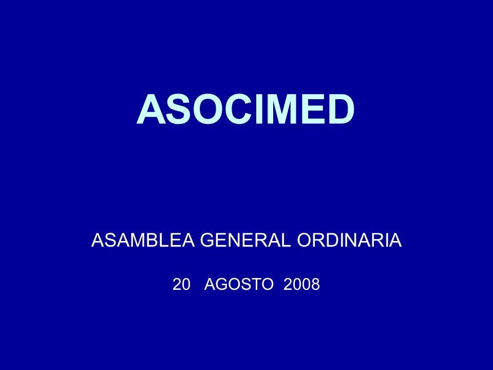 Cuenta del Presidente : Reglamento sobre Formación y certificación de especialistas En el 2006 ASOCIMED fue invitada a participar en la elaboración y discusión del borrador de Reglamento sobre la certificación de especialidades médicas que se desprende de la Ley de Autoridad Sanitaria (dependiente del MINSAL).