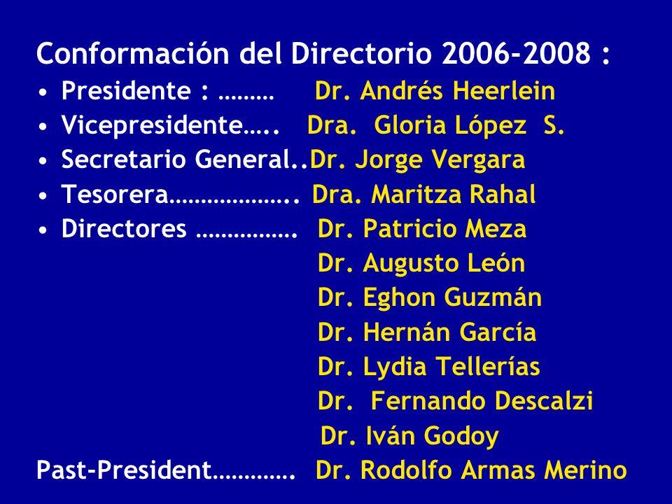 Conformación del Directorio 2006-2008 : Presidente : ……… Dr. Andrés Heerlein Vicepresidente….. Dra. Gloria López S. Secretario General..Dr. Jorge Verg