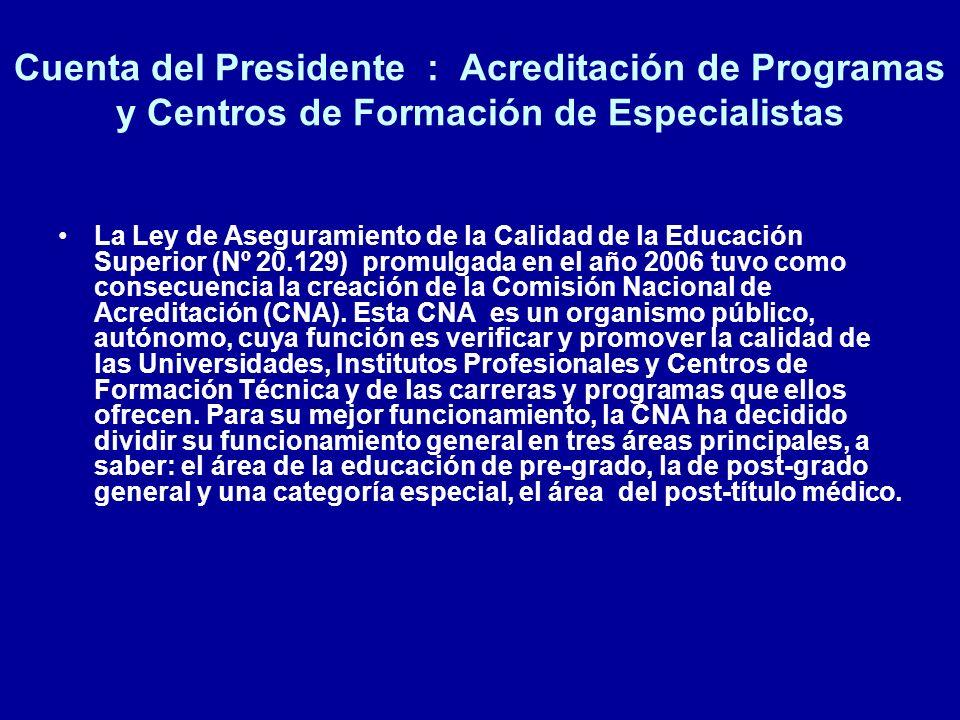Cuenta del Presidente : Acreditación de Programas y Centros de Formación de Especialistas La Ley de Aseguramiento de la Calidad de la Educación Superi