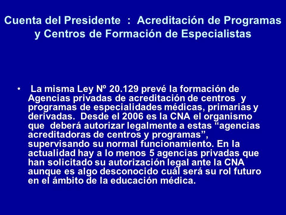 Cuenta del Presidente : Acreditación de Programas y Centros de Formación de Especialistas La misma Ley Nº 20.129 prevé la formación de Agencias privad