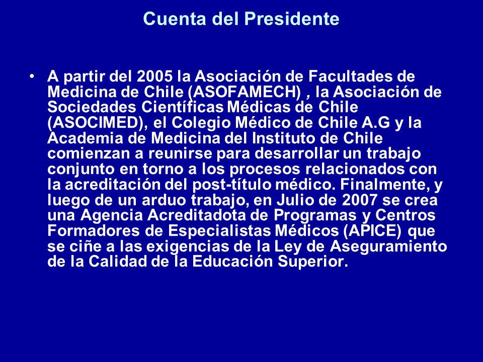 Cuenta del Presidente A partir del 2005 la Asociación de Facultades de Medicina de Chile (ASOFAMECH), la Asociación de Sociedades Científicas Médicas