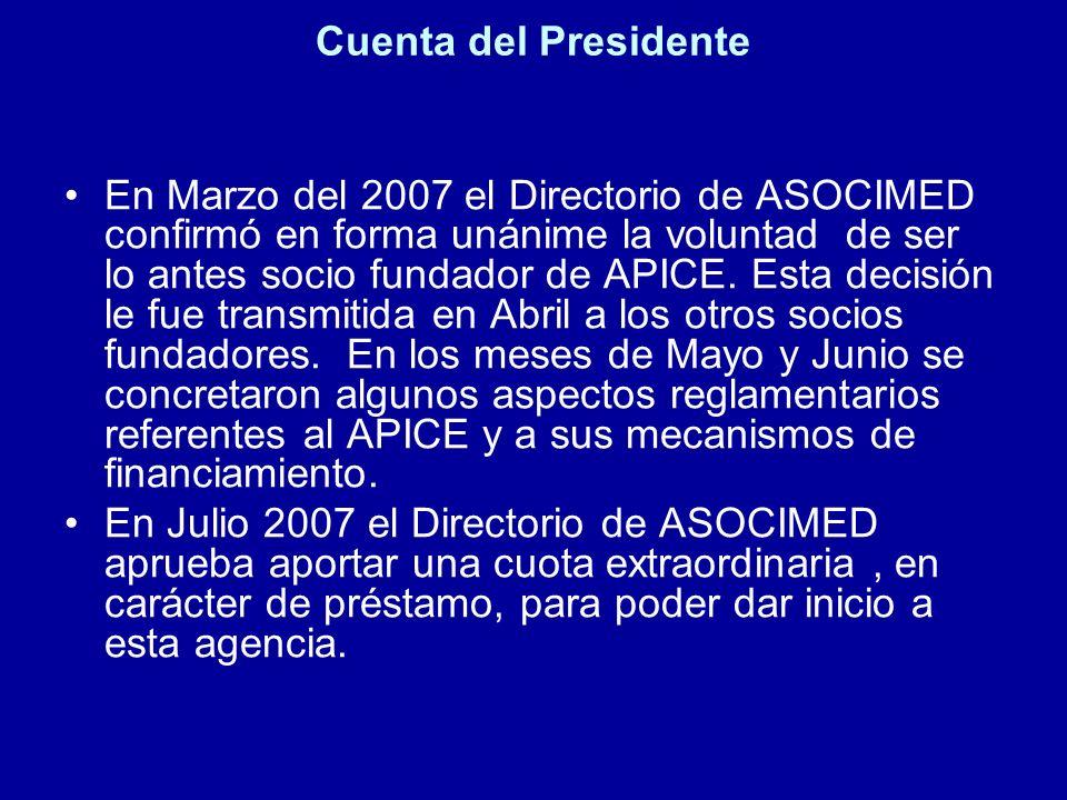 Cuenta del Presidente En Marzo del 2007 el Directorio de ASOCIMED confirmó en forma unánime la voluntad de ser lo antes socio fundador de APICE. Esta