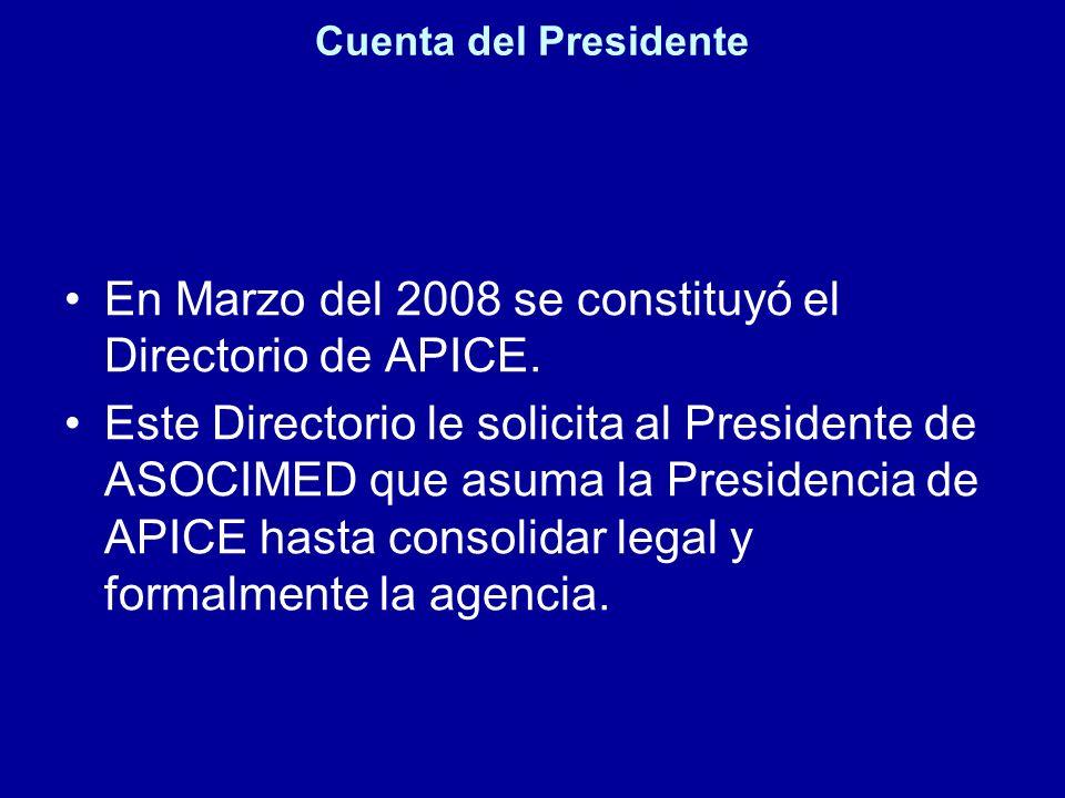 Cuenta del Presidente En Marzo del 2008 se constituyó el Directorio de APICE. Este Directorio le solicita al Presidente de ASOCIMED que asuma la Presi