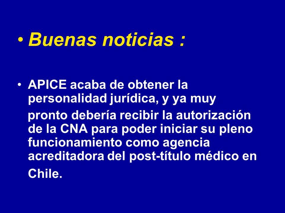 Buenas noticias : APICE acaba de obtener la personalidad jurídica, y ya muy pronto debería recibir la autorización de la CNA para poder iniciar su ple