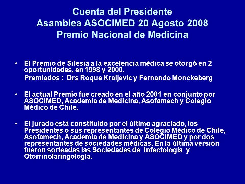 Cuenta del Presidente Asamblea ASOCIMED 20 Agosto 2008 Premio Nacional de Medicina El Premio de Silesia a la excelencia médica se otorgó en 2 oportuni