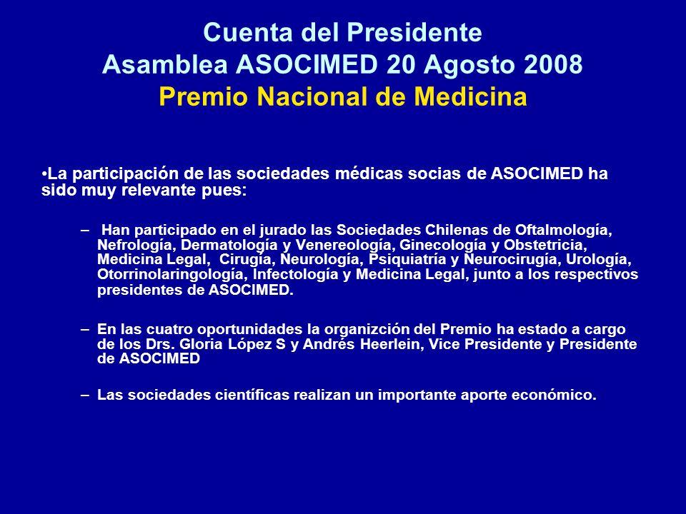 Cuenta del Presidente Asamblea ASOCIMED 20 Agosto 2008 Premio Nacional de Medicina La participación de las sociedades médicas socias de ASOCIMED ha si