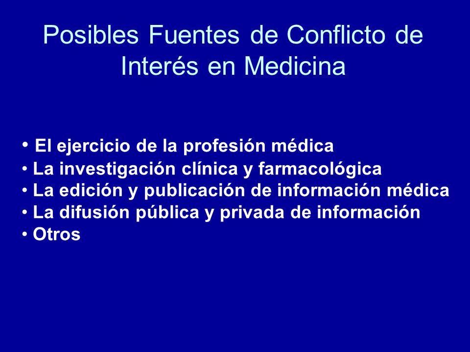 Posibles Fuentes de Conflicto de Interés en Medicina El ejercicio de la profesión médica La investigación clínica y farmacológica La edición y publica