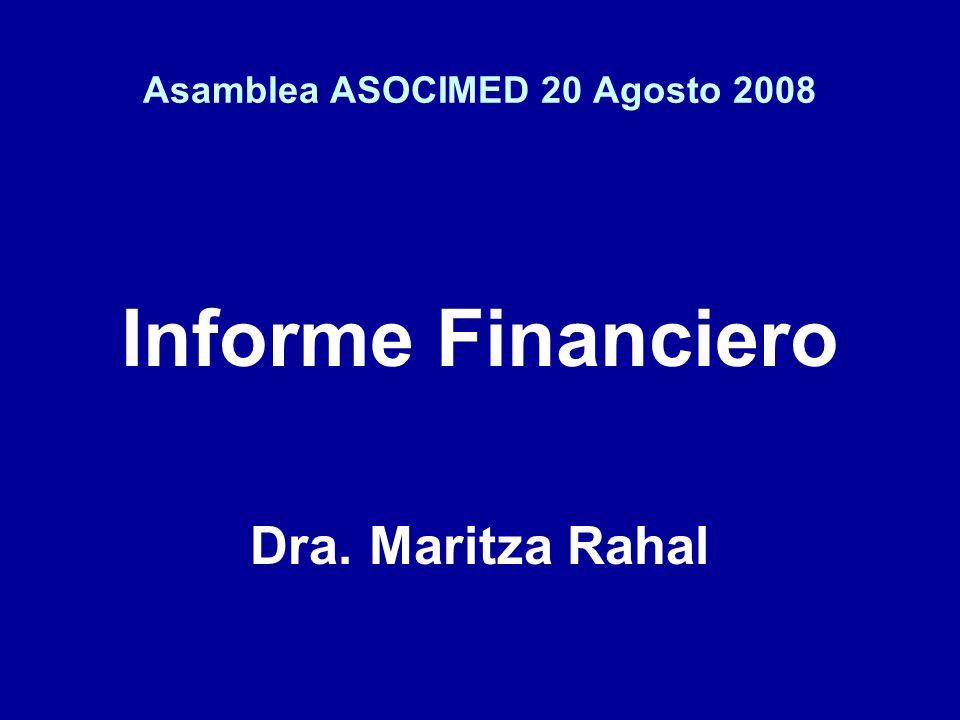 Asamblea ASOCIMED 20 Agosto 2008 Informe Financiero Dra. Maritza Rahal