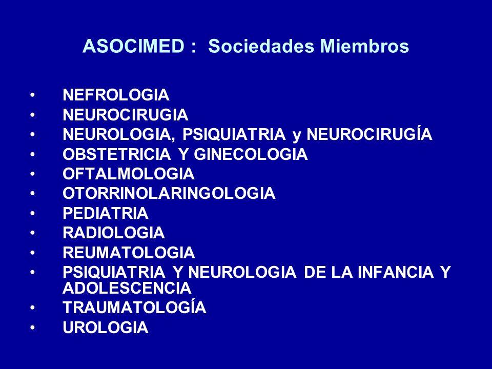 ASOCIMED : Sociedades Miembros NEFROLOGIA NEUROCIRUGIA NEUROLOGIA, PSIQUIATRIA y NEUROCIRUGÍA OBSTETRICIA Y GINECOLOGIA OFTALMOLOGIA OTORRINOLARINGOLO