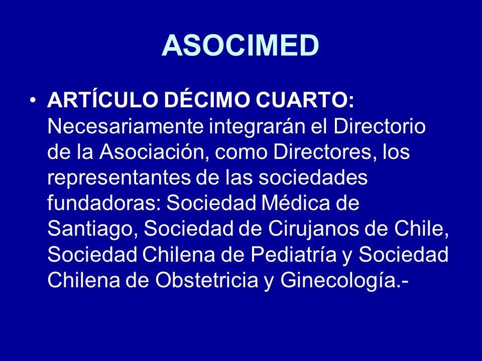 ASOCIMED ARTÍCULO DÉCIMO CUARTO: Necesariamente integrarán el Directorio de la Asociación, como Directores, los representantes de las sociedades funda