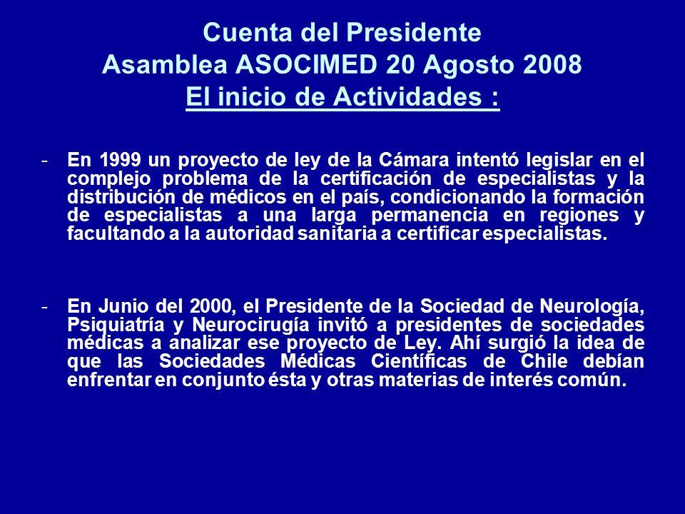 Cuenta del Presidente Asamblea ASOCIMED 20 Agosto 2008 El inicio de Actividades : -En 1999 un proyecto de ley de la Cámara intentó legislar en el comp