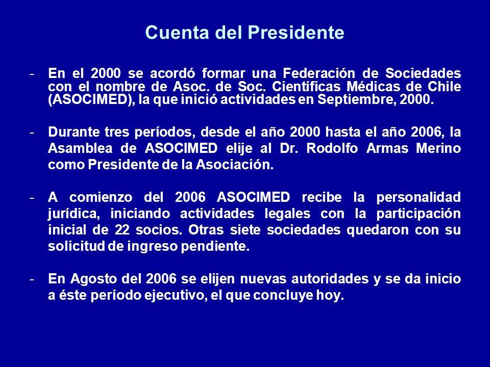 Cuenta del Presidente : CONIS A fines del 2006 la Ministro de Salud invitó oficialmente a ASOCIMED a integrarse como asesor científico del Consejo Nacional de Investigación en Salud (CONIS), dependiente de esa cartera.