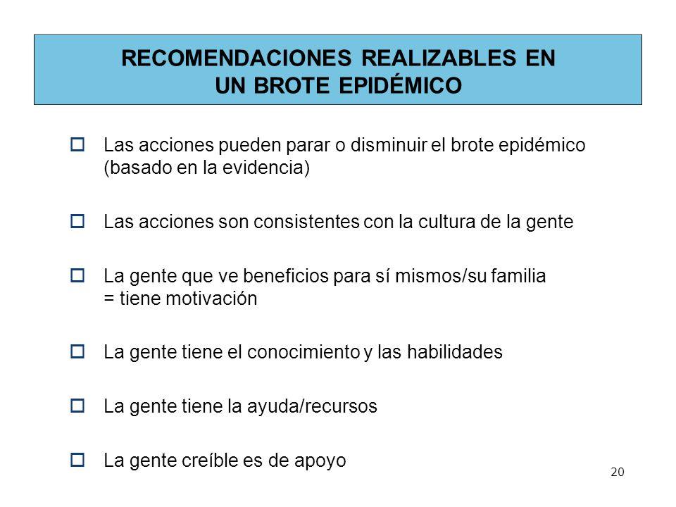 RECOMENDACIONES REALIZABLES EN UN BROTE EPIDÉMICO Las acciones pueden parar o disminuir el brote epidémico (basado en la evidencia) Las acciones son c
