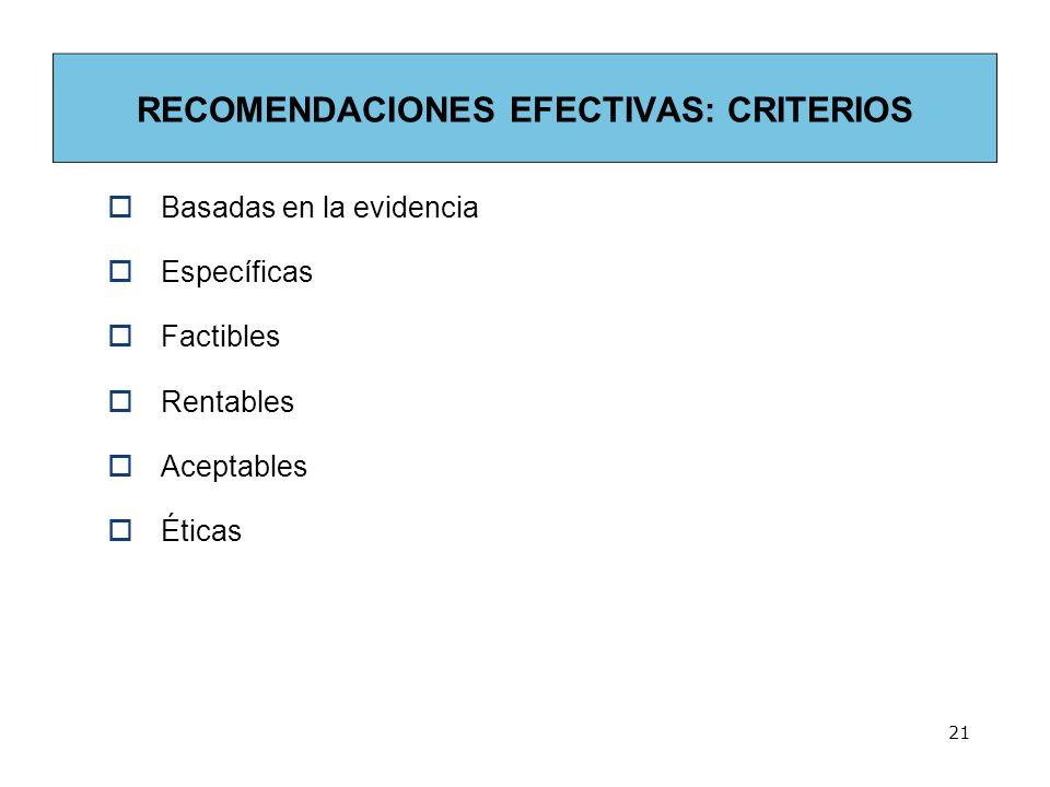 RECOMENDACIONES EFECTIVAS: CRITERIOS Basadas en la evidencia Específicas Factibles Rentables Aceptables Éticas 21