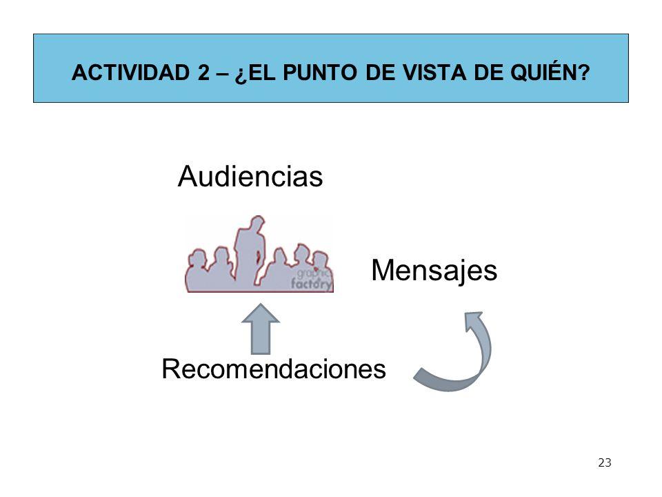 ACTIVIDAD 2 – ¿EL PUNTO DE VISTA DE QUIÉN? Recomendaciones 23 Audiencias Mensajes